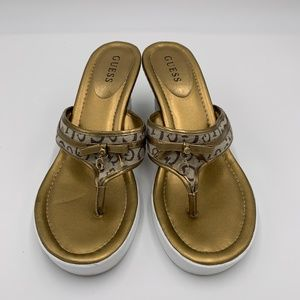 Guess Gold Wedge Sandals
